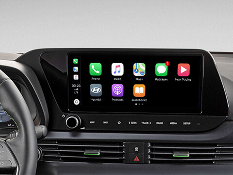 "A close up of the 10.25"" navigation touch screen with Apple CarPlay or Android Auto"